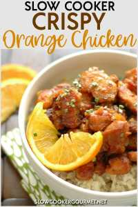 Healthier and easier than Chinese food takeout, the light crispiness and delicious sauce on this Slow Cooker Crispy Orange Chicken is the perfect meal for your family tonight! #slowcookergourmet #slowcooker #crispy #orangechicken #orange #chicken