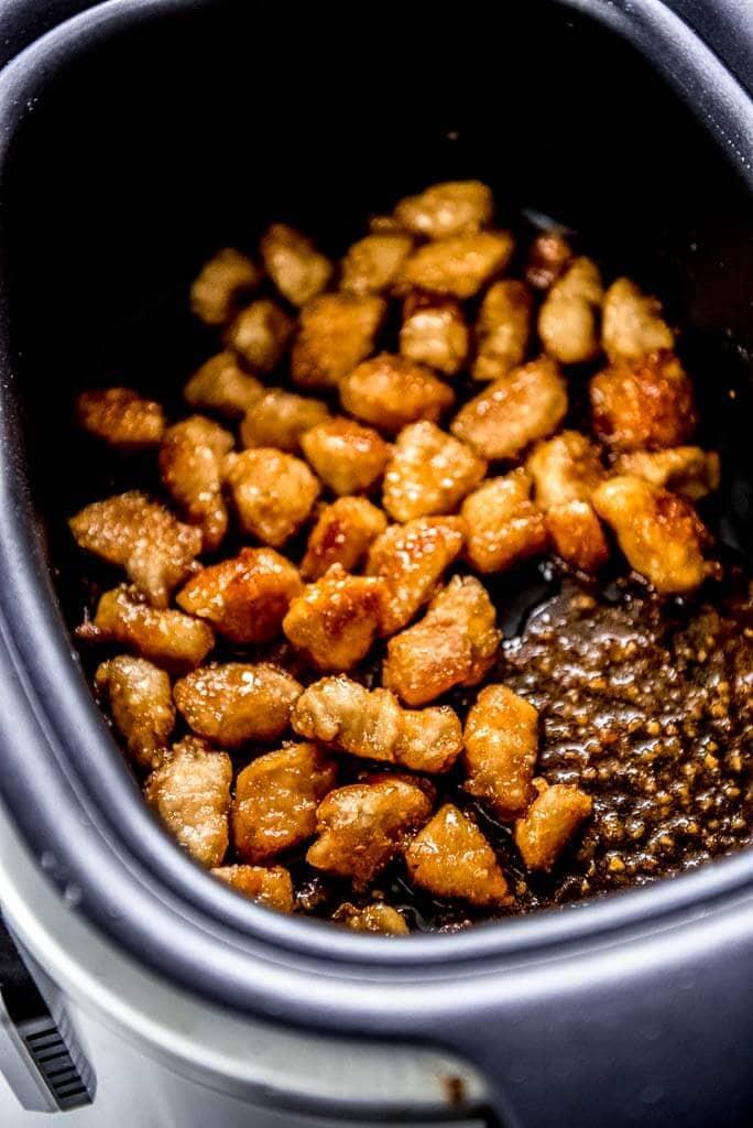 honey crispy chicken in rectangle slow cooker