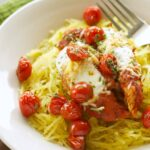 Slow Cooker Chicken Parmesan with Spaghetti Squash and Balsamic Roasted Tomatoes