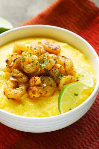 Slow Cooker Creamy Polenta with Chili Lime Shrimp
