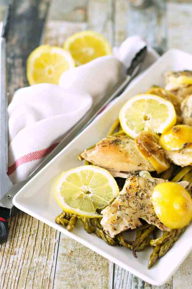 Slow Cooker Lemon Pepper Chicken and Asparagus
