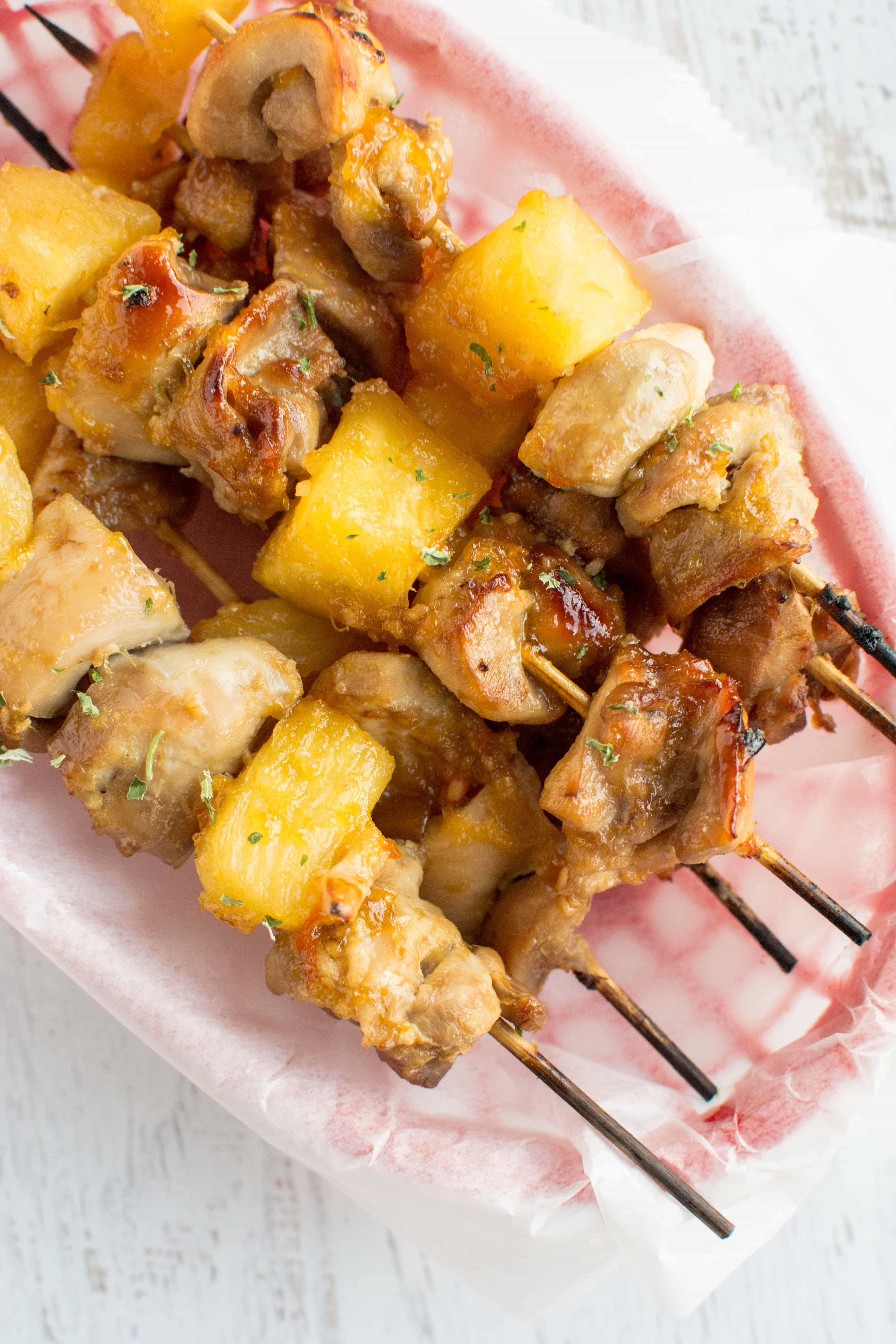 Slow Cooker Peach Habenero Glazed Pineapple Chicken Skewers