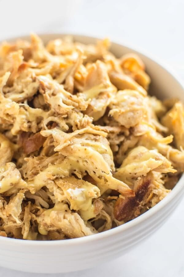 Slow Cooker Honey Mustard Pulled Chicken - Slow Cooker Gourmet