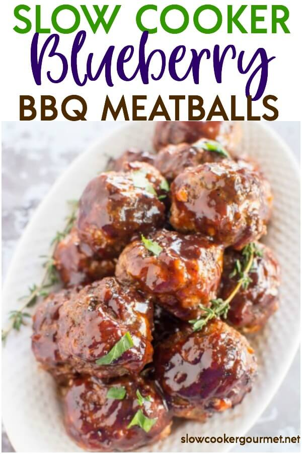 Need a weeknight meal idea? What about an appetizer for your next get-together? Either way, do yourself a favor and try these Slow Cooker Blueberry BBQ Meatballs! Use the help of your slow cooker and with a little bit of prep work these easy and delicious slow cooker meatballs will be ready in no time at all! #slowcookergourmet #slowcooker #bbq #meatballs #groundbeef #groundpork