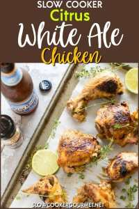 Nice and juicy, super easy and a taste just like summer.  And so much easier (or at least I would imagine) than sticking a whole chicken on top of a beer can on the grill.  Just season it up and throw it in the slow cooker. #slowcookergourmet #slowcooker #citrus #whiteale #chicken #orangejuice #limejuice #bbqsauce #mccormickgrillmates #belgianstylewhitealeseasoning