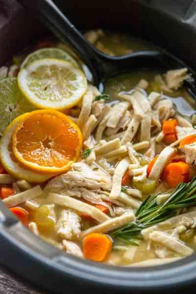 Slow Cooker Citrus Herb Chicken Noodle Soup