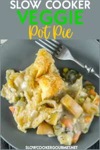 This easy Slow Cooker Veggie Pot Pie recipe is full of tender veggies cooked all day in the slow cooker and the most delicious homemade creamy sauce.  Top it off with a simple puff pastry for an amazing weeknight dinner sure to impress! #slowcookergourmet #slowcooker #veggie #potpie