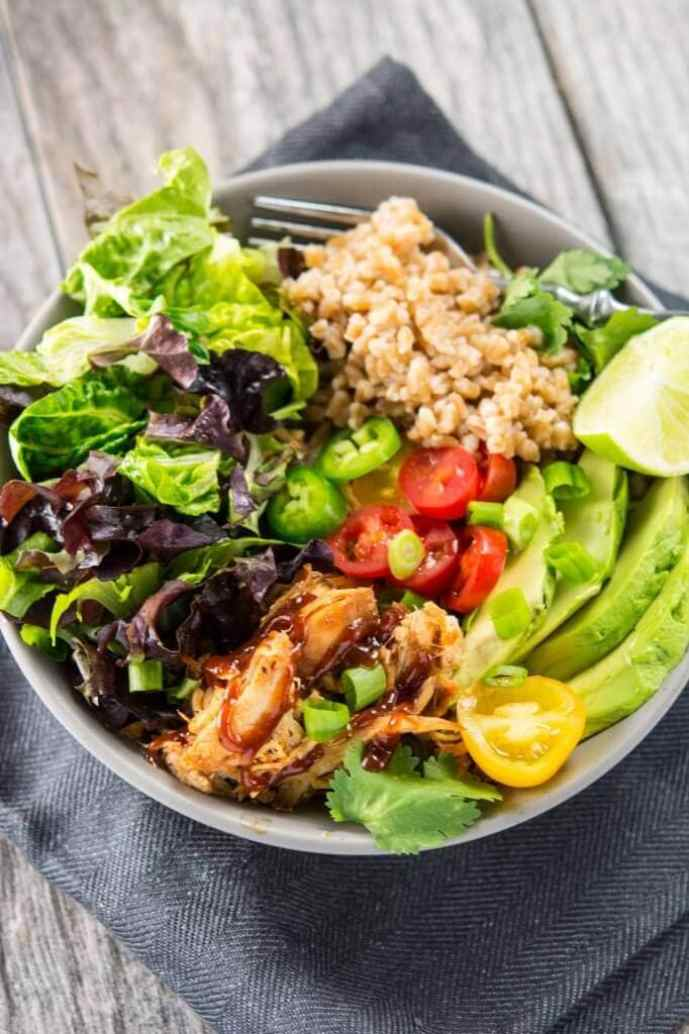 Slow Cooker Honey Barbecue Chicken Bowl