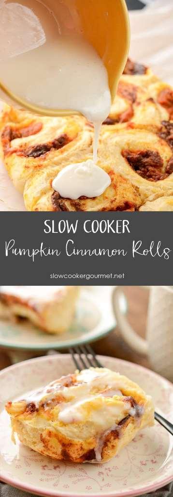 Slow Cooker Pumpkin Cinnamon Rolls