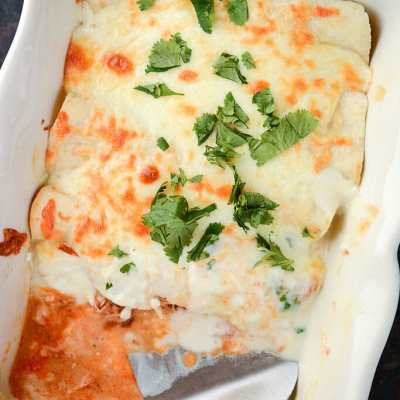 Adobo Chicken Enchiladas with Lemon Cream Sauce