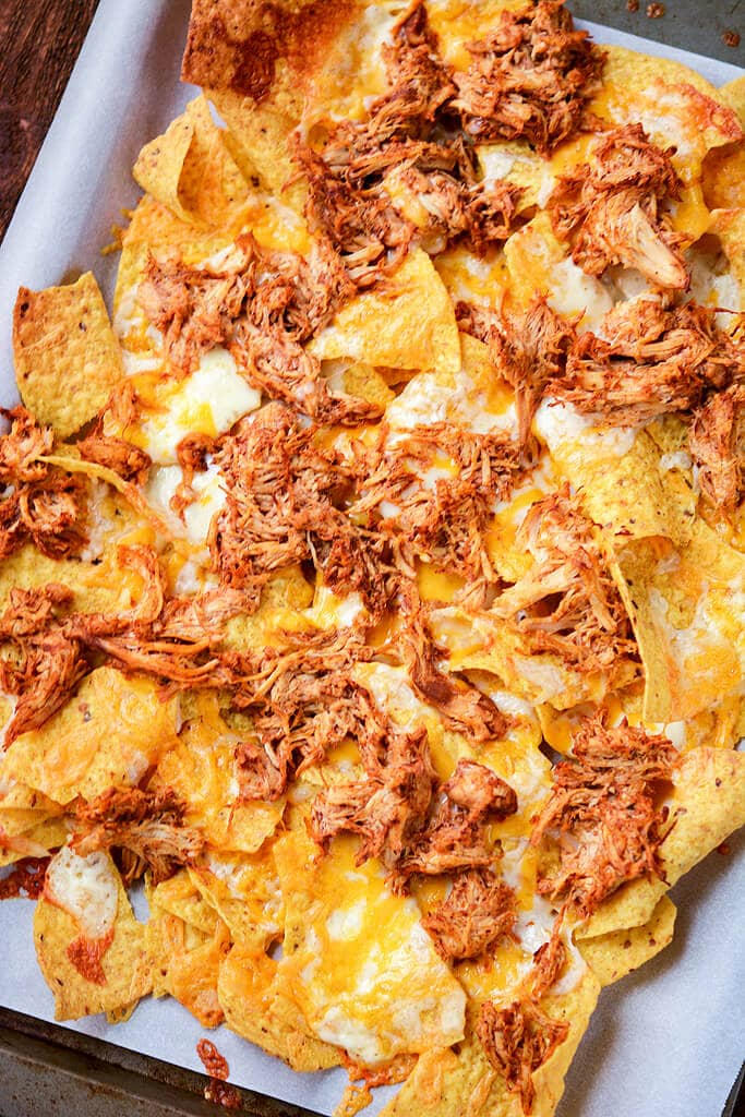 Slow Cooker Chicken Enchilada Nachos