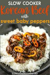 Slow Cooker Korean Beef with Sweet Peppers uses flank steak and sweet peppers to create a fresh meal using your slow cooker that's simple and quick to make! #slowcookergourmet #korean #beef #flanksteak #sweetpeppers #soysauce #brownsugar ricevinegar #chiligarlicsauce #sesameoil