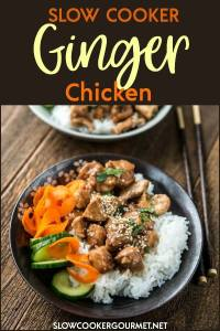 Slow Cooker Ginger Chicken is a healthier take-out style recipe for a family friendly meal that everyone should keep on hand! So quick and easy to make you'll never need to get take-out again! #slowcookergourmet #slowcooker #ginger #chicken #gingerchicken #sriracha #blackberrypreserves #carrot #cucumber #jasminerice
