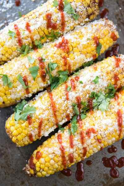 Mexican Corn on the Cob with Sriracha {Food Truck Fridays}