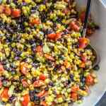 Black Bean and Corn Salsa in large white bowl