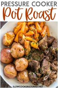 If you are looking for the ultimate family meal that doesn't take all day to make then try this flavorful Pressure Cooker Pot Roast! This pot roast is so easy to make in your Instant Pot or other electric pressure cooker! #slowcookergourmet #pressurecooker #instantpot #potroast