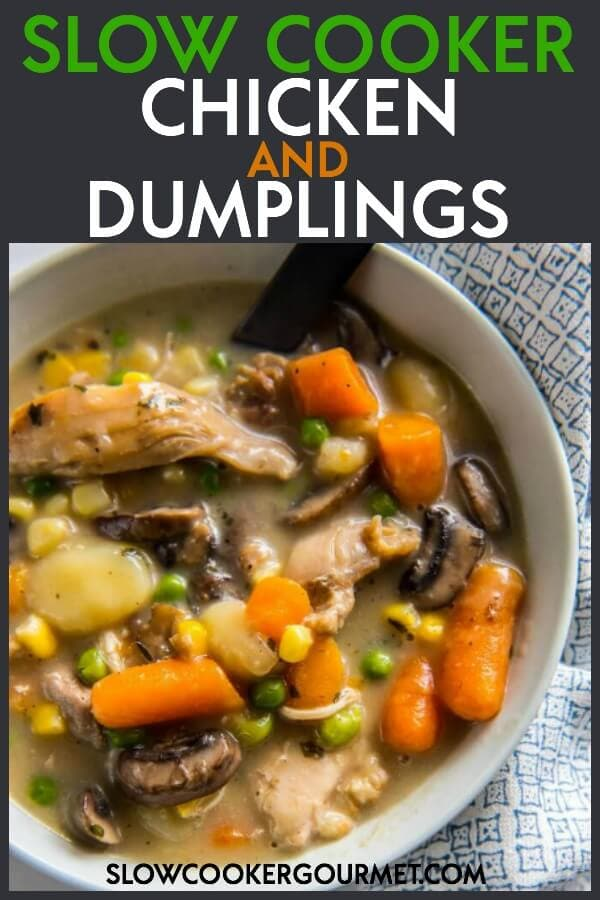 This Slow Cooker Chicken and Dumplings satisfies all your cravings for comfort food without spending hours in the kitchen! Make a batch now and one for later! #madeahead #mealprep #freezermeal #slowcooker #soup #chicken #chickenanddumplings #chickenanddumplings #chickenrecipe #slowcookerrecipe #crockpot #crockpotchicken #dinner
