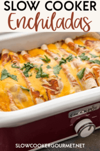 If you love meals that are super easy, totally tasty and use only a few simple ingredients then you are in luck! These slow cooker enchiladas come together in minutes for a delicious dinner the whole family will enjoy! #slowcookergourmet #slowcooker #enchiladas #beef #groundbeef