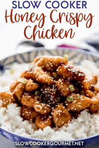 When you love takeout but not the cost or questionable ingredients, then it's time to make your own even more delicious version at home! Slow Cooker Honey Crispy Chicken is easier than you think and so amazing! #slowcookerchicken #chinesefood #takeout