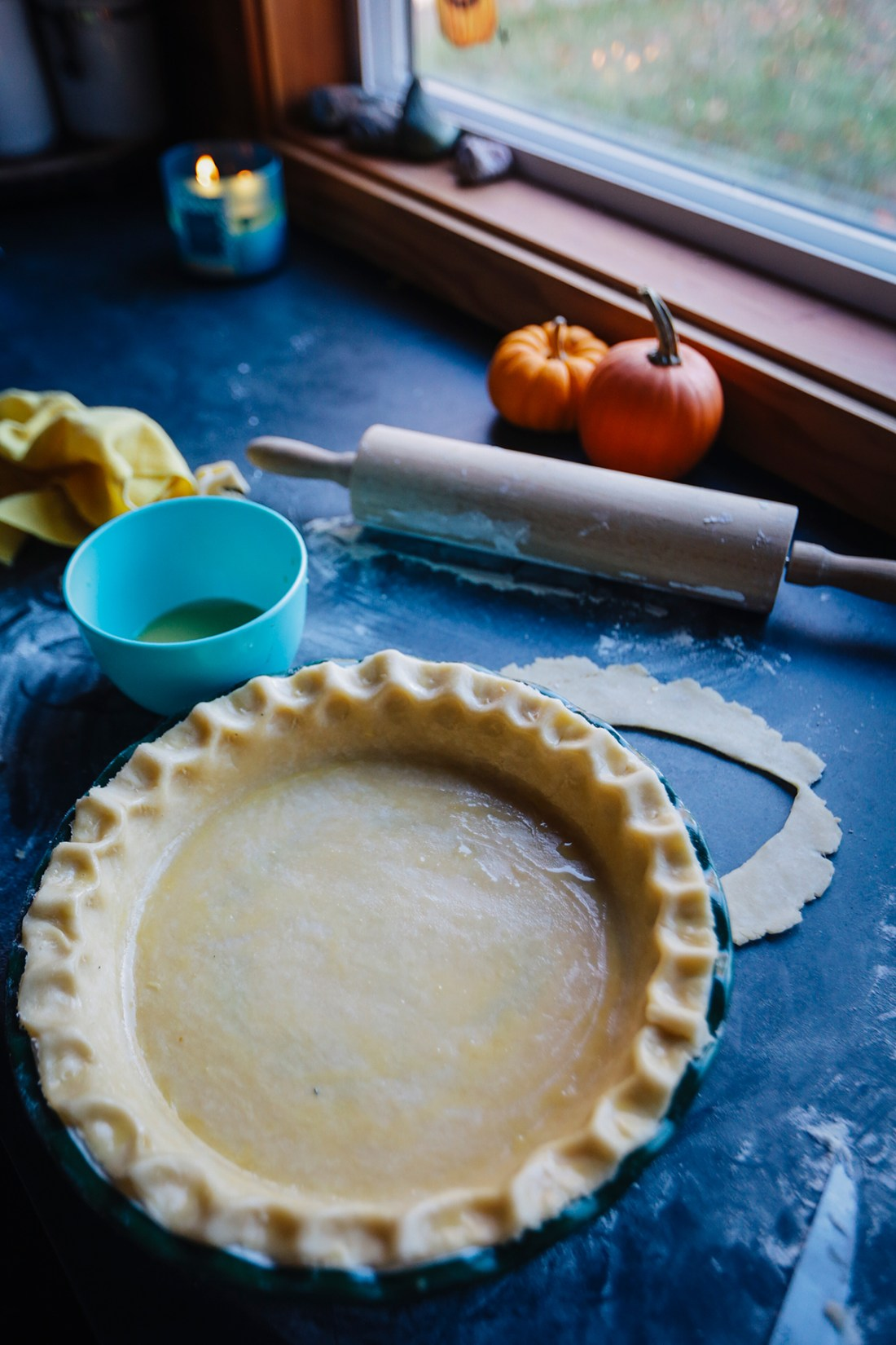 All-butter pie crust with crimped edges