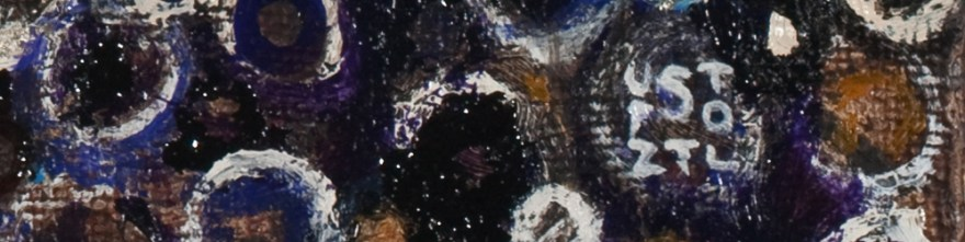 Detail showing signature of the painting Tellus by Randall Stoltzfus