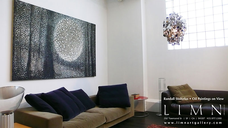 Randall Stoltzfus' painting Penumbra installed in the showroom and LIMN in San Francisco