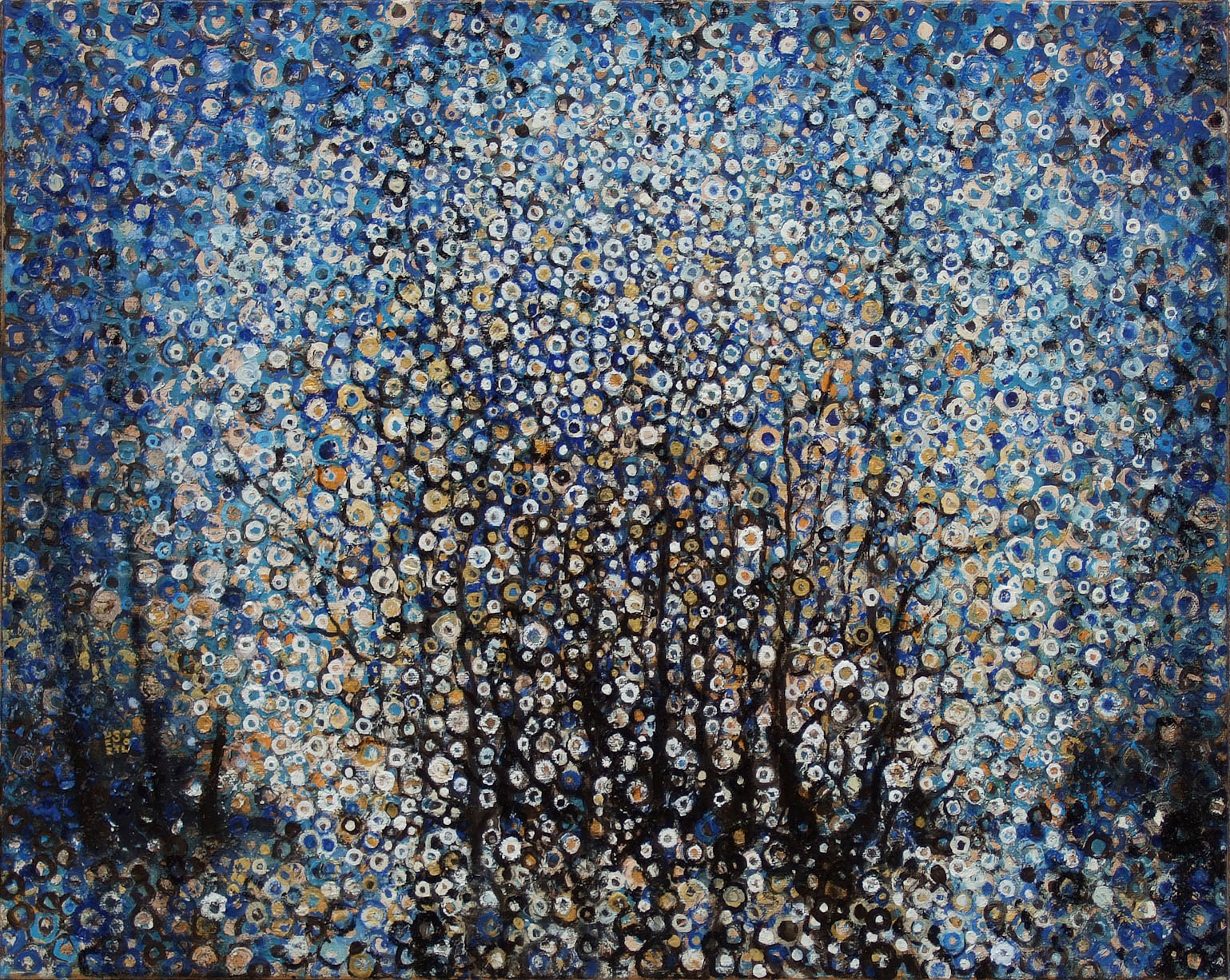 'Copse' by Randall Stoltzfus, 2007, oil and gold leaf on canvas, 16 by 20 inches