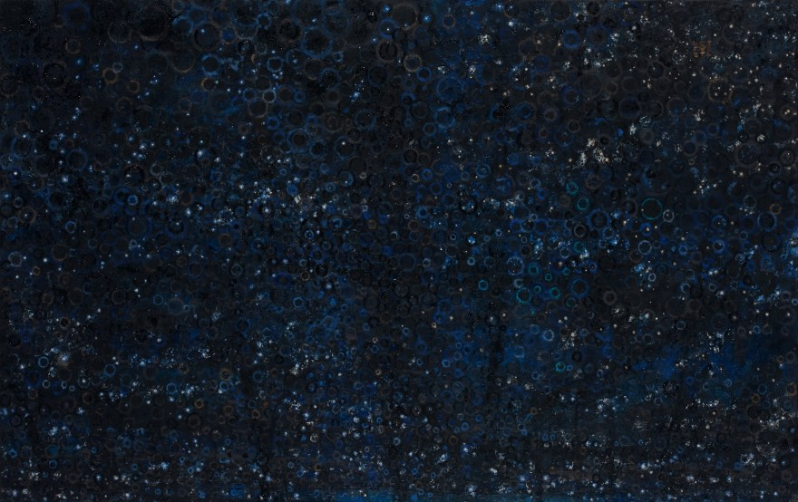 """Dark Sky"" by Randall Stoltzfus, 2009, oil with gold and palladium leaf on panel, 24 by 38 inches"