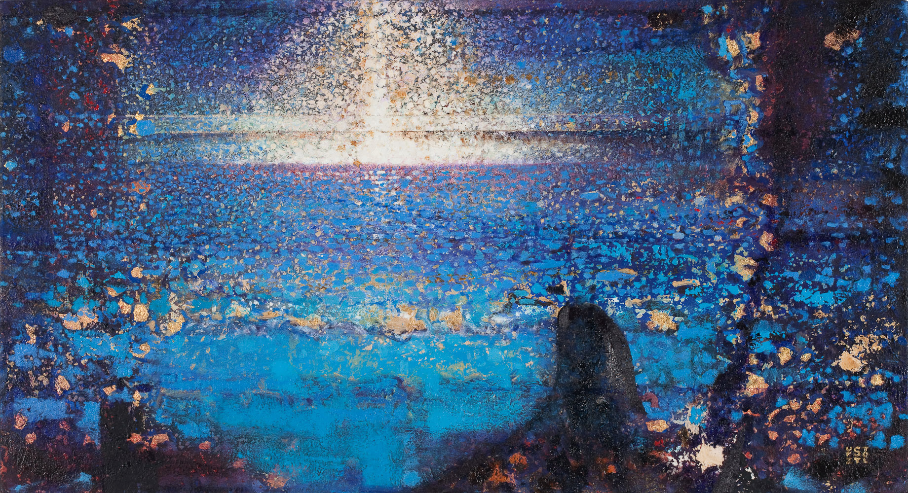 Five Miles Out by Randall Stoltzfus, 2009, oil and gold leaf on canvas over panel, 20 by 36 inches