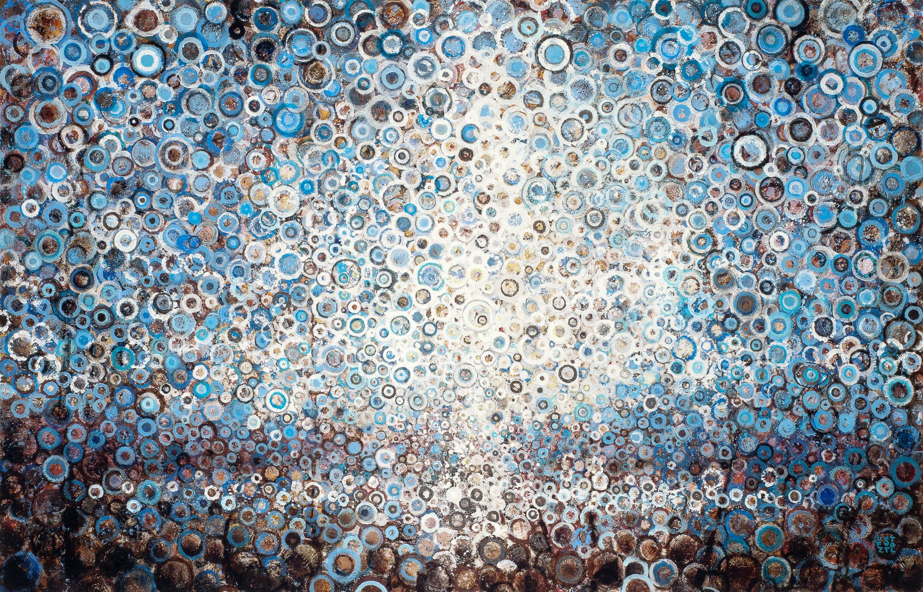 A field of blue, white, and brown circles painting create an abstract landscape in the painting 'Rise' by artist Randall Stoltzfus