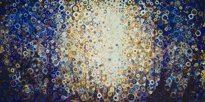 """""""Near,"""" by Randall Stoltzfus, 2013, oil and acrylic dispersion with gold leaf on linen, 20 by 40 inches"""