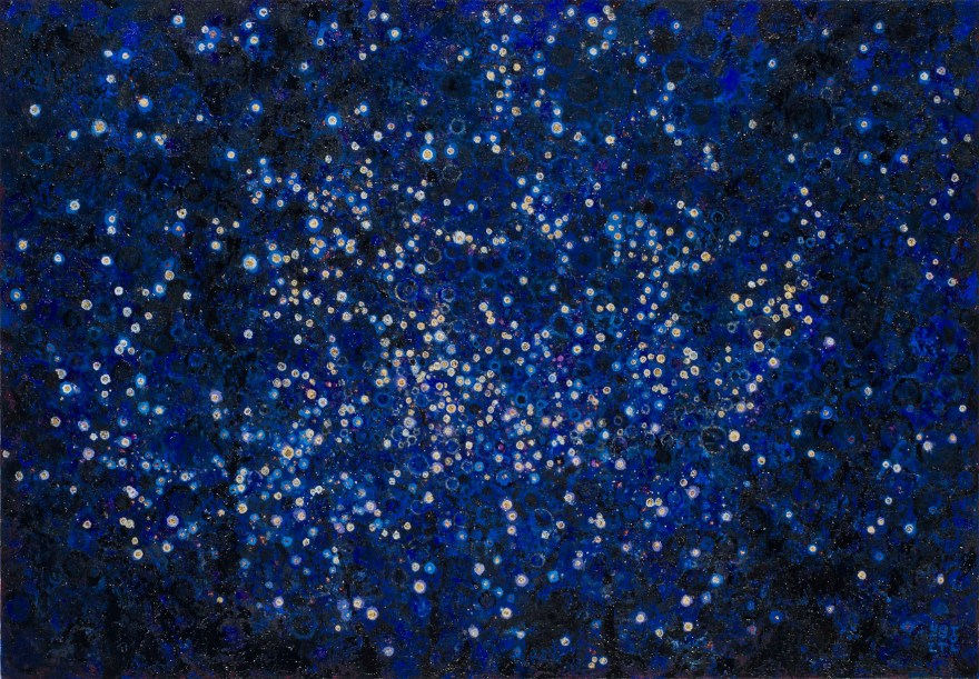 "Deep Blue and flecks of 24K gold leaf that stand in for stars | The painting ""Placer"" by Randall Stoltzfus 