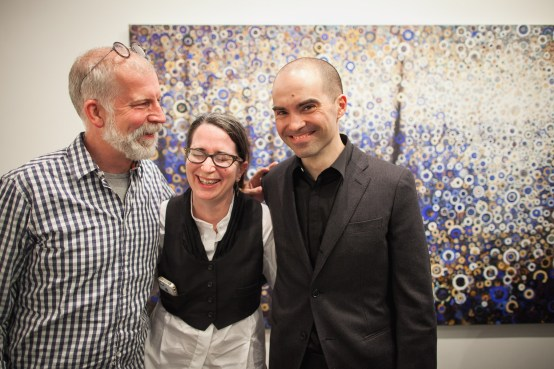 "David Beahm, Callie Janoff and Randall Stoltzfus with Randy's painting ""Seagate"""
