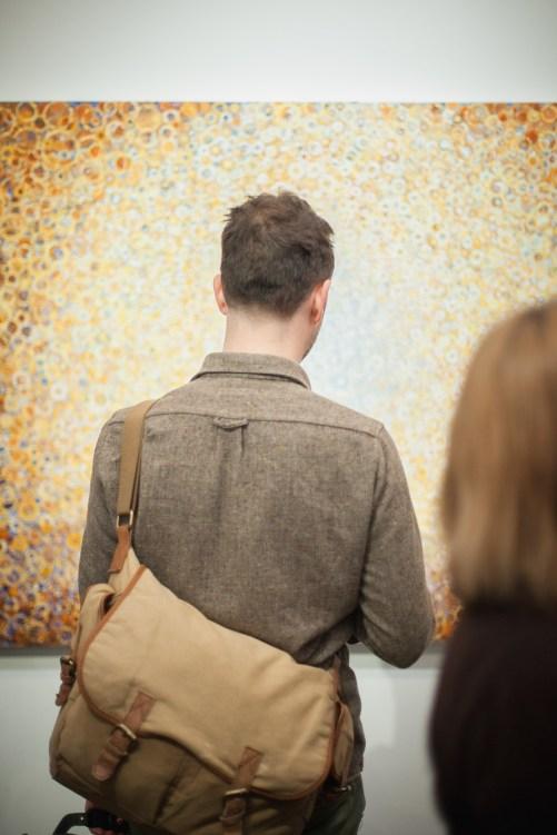 """Morir Soñando"" installed at Blank Space Gallery in 2013. photo credit Steve McFarland"
