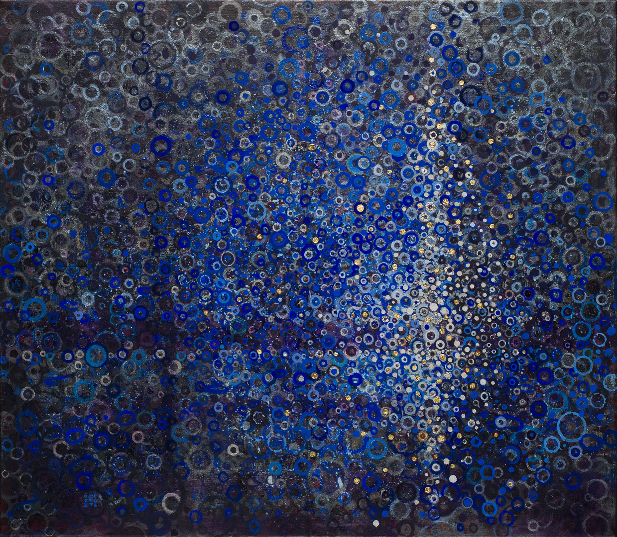 """Port"" by Randall Stoltzfus. 2014, acrylic dispersion, palladium and gold leaf on recycled polymer canvas, 34""x39"""
