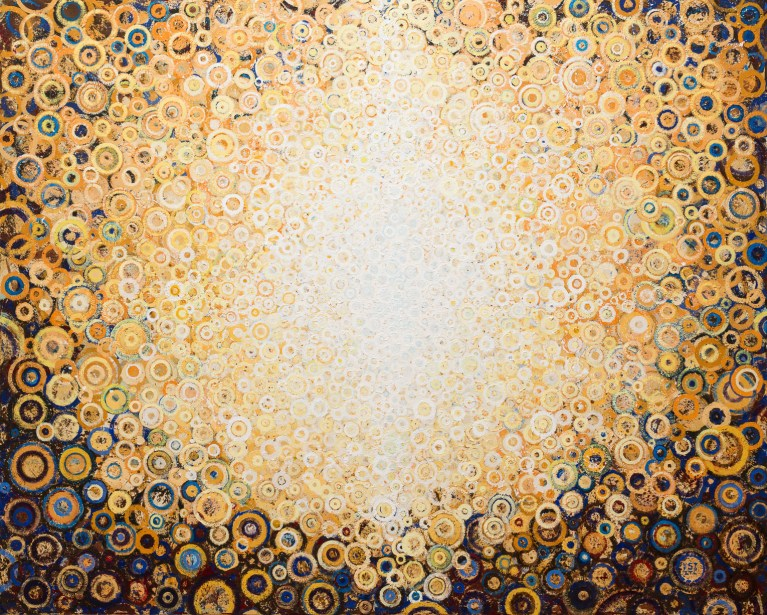 """Rajah"" by Randall Stoltzfus. 2015, acrylic dispersion on polymer canvas, 48 by 60 inches"