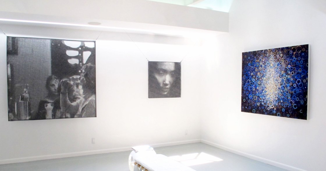 Artwork by randall Stoltzfus and Seung Mo Park hang in Blank Space Summer Show in 2015