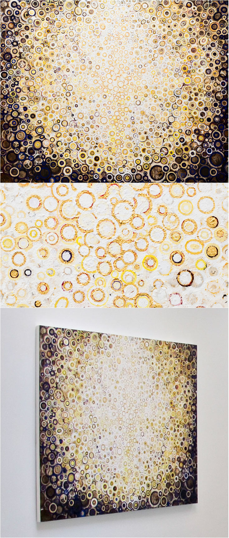 Corona | A painting by Randall Stoltzfus | With detail showing gold leaf and install photo