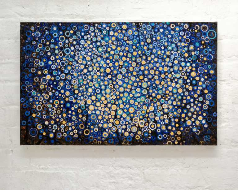 Blue and Gold | This ultramarine blue and gold leaf painting is composed many hand painted circles evocative of a summer night | The oil painting titled Vigil by Randall Stoltzfus on studio wall