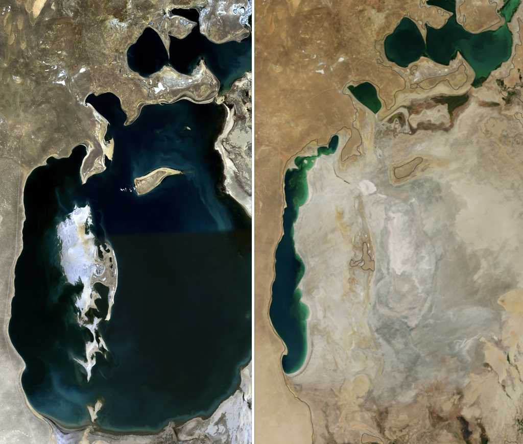 NASA photos comparing the Aral Sea in 1989 (left) and 2014 (right).