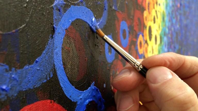 One Blue Brushstroke by Randall Stoltzfus