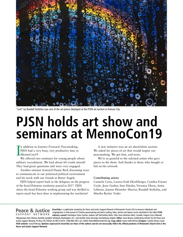 Page 2 of the August 19 issue of PJSN's biannual newsletter, Dove Tales features a reproduction of Lost Rainbow and a description of PJSN's participation in MennoCon2019