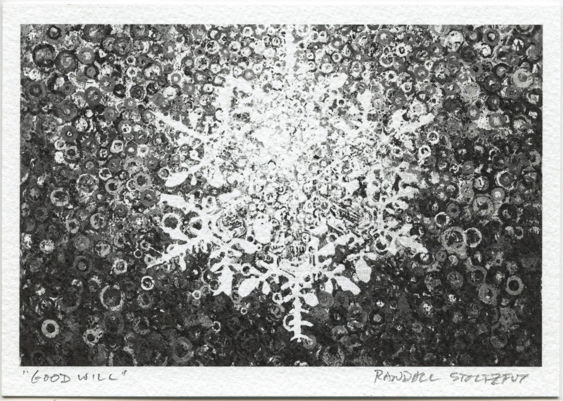 Monochrome print 'Good Will' signed by artist Randall Stoltzfus
