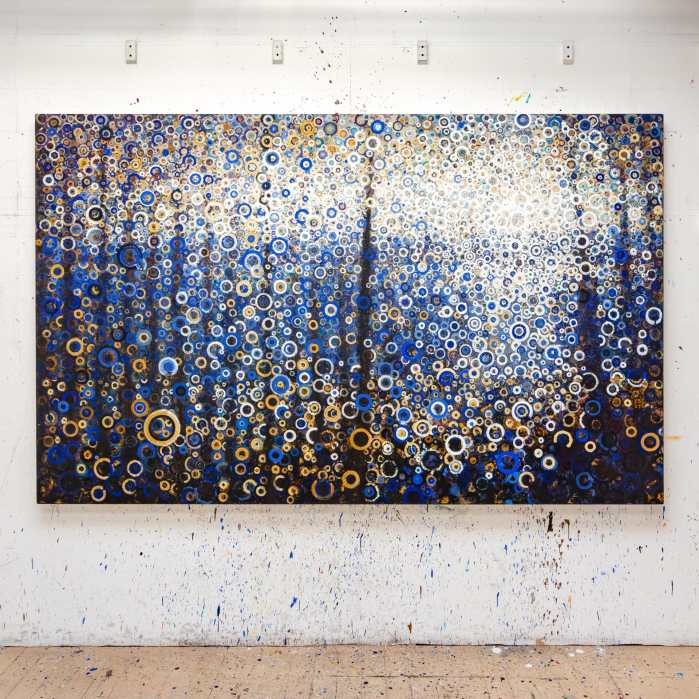 The painting Seagate by Randall Stoltzfus hangs on a paint spattered wall in the artist's Brooklyn studio