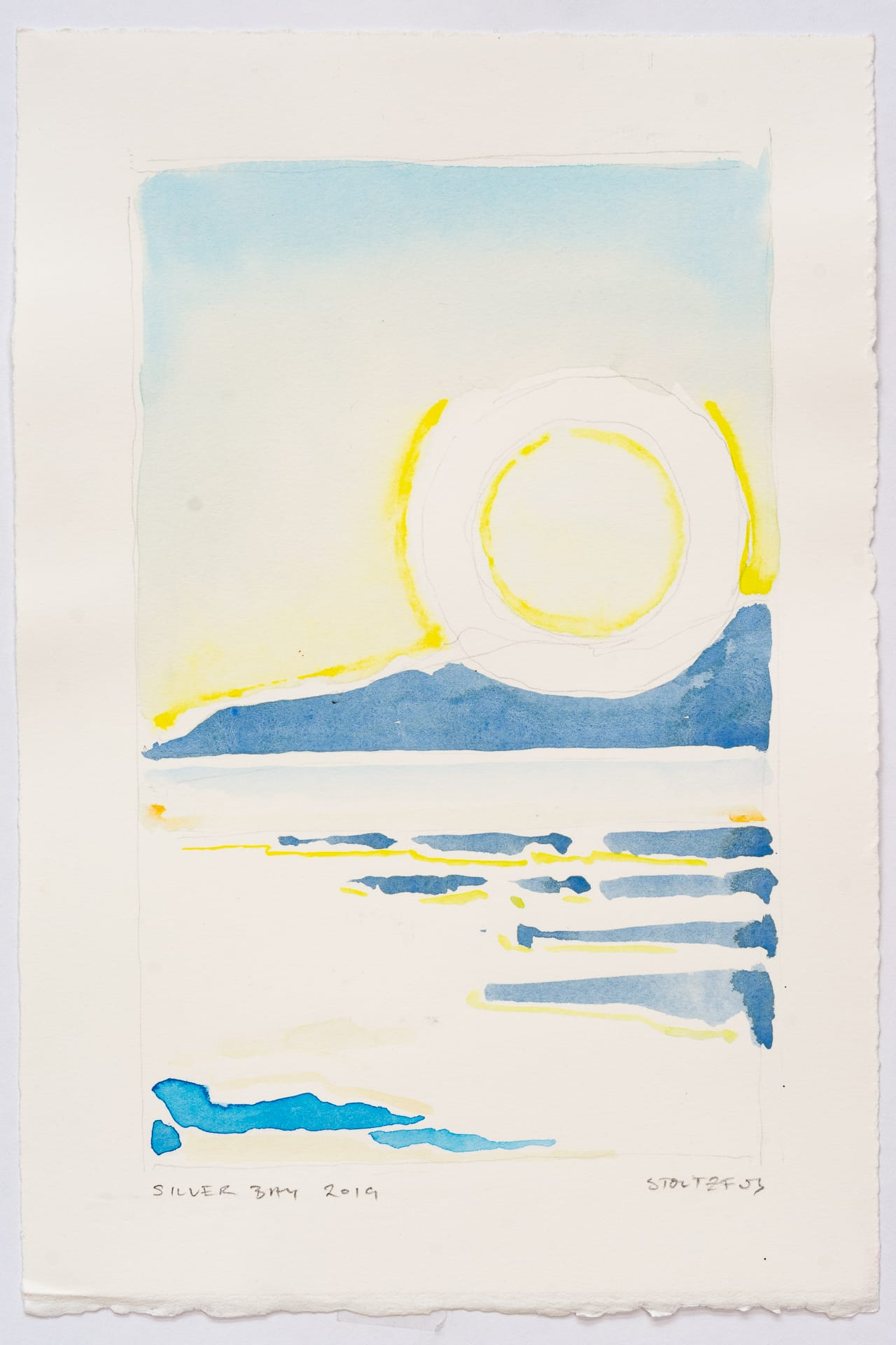 Sunrise over Silver Bay at Lake George, NY   Silver Bay 2019 S5 by Randall Stoltzfus   Watercolor on paper, 11 by 7.5 inches