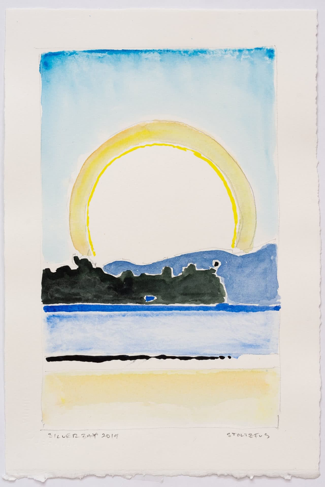 Sunlight over Lake George, NY | Silver Bay 2019 S9 by Randall Stoltzfus | Watercolor on paper, 11 by 7.5 inches