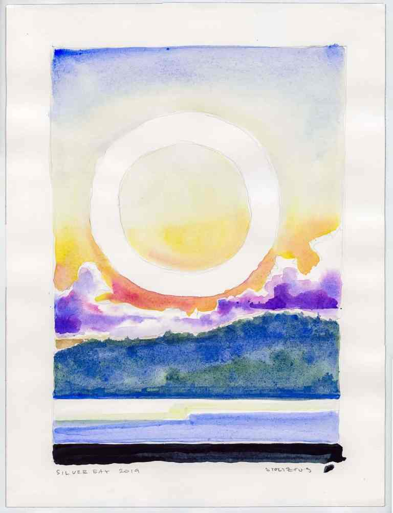 Sunrise over Lake George   Silver Bay 2019 L1 by Randall Stoltzfus   Watercolor on paper, 16 by 12 inches