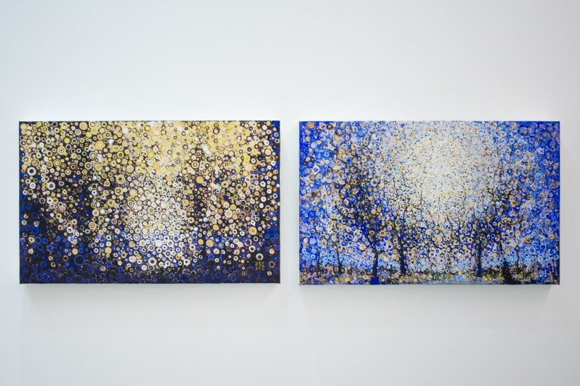 The paintings Through and Held hang in the exhibit Widening at Blank Space in New York City