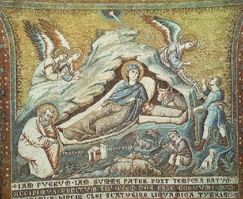 Narodziny Jezusa, Pietrio Cavallini,mozaika, bazylika NMP na Zatybrzu, XIII w