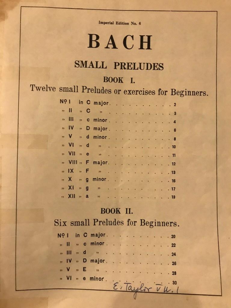 Bach Small Preludes Contents